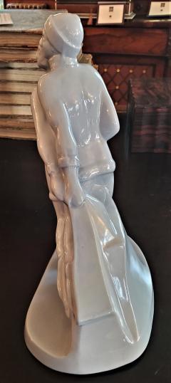Boch Fr res Keramis Co Belgian Art Deco Charles Catteau BFK Ice Skater Sculpture - 1795639