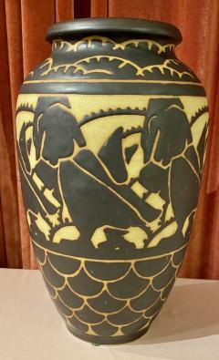 Boch Fr res Keramis Co Boch Freres Charles Catteau Animal Stoneware Primitive Vase Art Deco - 1748862