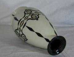Boch Fr res Keramis Co Catteau Boch Freres Art Deco Geometric Stoneware Vase - 1601078