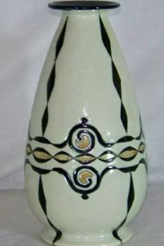 Boch Fr res Keramis Co Catteau Boch Freres Art Deco Geometric Stoneware Vase - 1601079