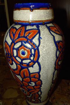Boch Fr res Keramis Co Catteau Era Ceramic Art Deco Vase with flower motif - 1482726