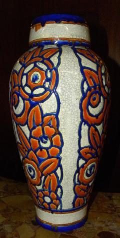 Boch Fr res Keramis Co Catteau Era Ceramic Art Deco Vase with flower motif - 1482741