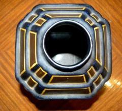 Boch Fr res Keramis Co Charles Catteau La Louviere Hexagon Vase - 1482745