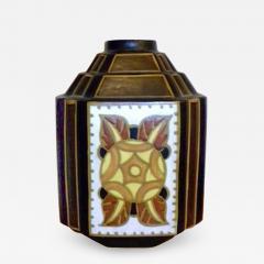 Boch Fr res Keramis Co Charles Catteau La Louviere Hexagon Vase - 1484128