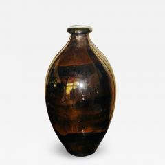 Boch Fr res Keramis Co Rare Back and Gold Iridescent Boch Vase Catteau - 1484129