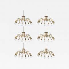 Bohlmarks AB Scandinavian Midcentury Starburst Chandeliers in Brass by B hlmarks Sweden - 852230