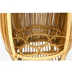 Bonacina Bonacina 1950 Italian Mid Century Modern Natural Rattan Cylindrical Bar Trolley - 1332780