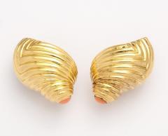 Boucheron 18k Gold Coral Shell Earclips by Boucheron - 315721