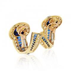 Boucheron BOUCHERON 18K YELLOW GOLD CABOCHON SAPPHIRES AND DIAMOND EARRINGS - 1828628
