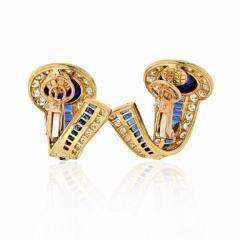 Boucheron BOUCHERON 18K YELLOW GOLD CABOCHON SAPPHIRES AND DIAMOND EARRINGS - 1828630