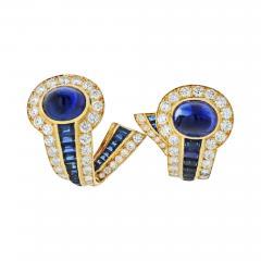 Boucheron BOUCHERON 18K YELLOW GOLD CABOCHON SAPPHIRES AND DIAMOND EARRINGS - 1829255
