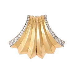 Boucheron BOUCHERON Retro Diamond Gold Double Clip Pin - 46143