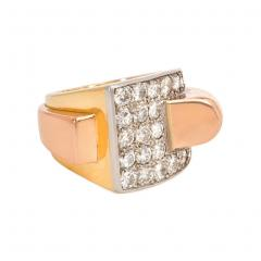 Boucheron Boucheron 1940s Two Color Gold and Diamond Sculptural Ring - 1224221