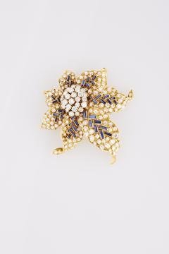 Boucheron Boucheron Diamond and Sapphire Gold Flower Brooch - 194454