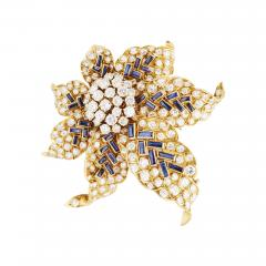 Boucheron Boucheron Diamond and Sapphire Gold Flower Brooch - 195277