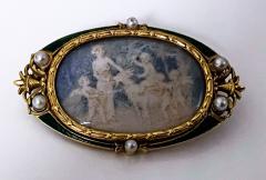Boucheron Boucheron Enamel Gold Pearl Portrait Brooch circa 1890 - 1819482