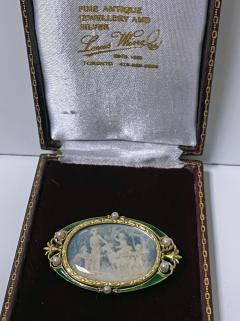 Boucheron Boucheron Enamel Gold Pearl Portrait Brooch circa 1890 - 1819483