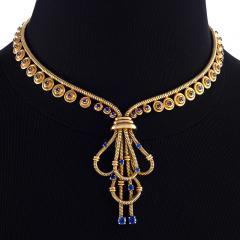 Boucheron Boucheron Paris Retro Sapphire and Gold Necklace - 718040