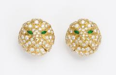 Boucheron Diamond and Emerald Cat Earrings in 18K Gold by Boucheron Circa 1980s - 78768