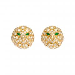 Boucheron Diamond and Emerald Cat Earrings in 18K Gold by Boucheron Circa 1980s - 79159