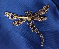 Boucheron Victorian Era Large Diamond Ruby Sapphire Dragonfly Attributed to Bucheron - 455378