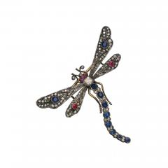 Boucheron Victorian Era Large Diamond Ruby Sapphire Dragonfly Attributed to Bucheron - 455522