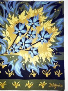 Bouquet doiseaux bleus Tapestry Signed by Claude Bleynie - 1926074