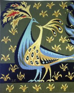 Bouquet doiseaux bleus Tapestry Signed by Claude Bleynie - 1926076