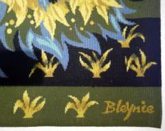 Bouquet doiseaux bleus Tapestry Signed by Claude Bleynie - 1926078