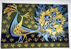 Bouquet doiseaux bleus Tapestry Signed by Claude Bleynie - 1926079
