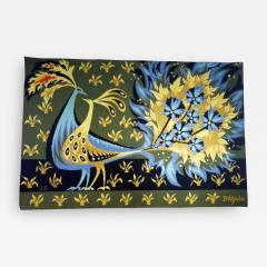 Bouquet doiseaux bleus Tapestry Signed by Claude Bleynie - 1927804