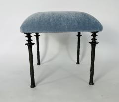 Bourgeois Boheme Atelier Pair of Sorgue Stools Blue Mohair Fabric - 2038806