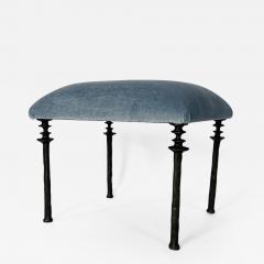 Bourgeois Boheme Atelier Pair of Sorgue Stools Blue Mohair Fabric - 2040390
