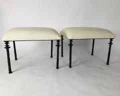 Bourgeois Boheme Atelier Pair of Sorgue Stools By Bourgeois Boheme Atelier Tan Ostrich Leather - 1041992