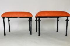 Bourgeois Boheme Atelier Pair of Sorgue Stools Tangerine Ostrich Leather - 1041972