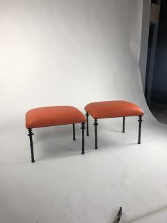 Bourgeois Boheme Atelier Pair of Sorgue Stools Tangerine Ostrich Leather - 1041976