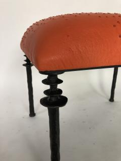 Bourgeois Boheme Atelier Pair of Sorgue Stools Tangerine Ostrich Leather - 1041979