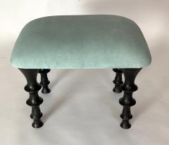 Bourgeois Boheme Atelier Pair of St Paul Stools Sea Foam Suede Cushions - 1327192