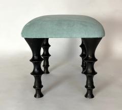 Bourgeois Boheme Atelier Pair of St Paul Stools Sea Foam Suede Cushions - 1327193
