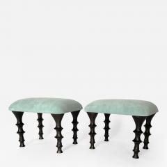 Bourgeois Boheme Atelier Pair of St Paul Stools Sea Foam Suede Cushions - 1327942