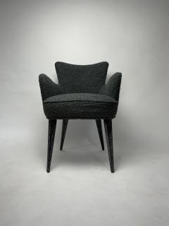 Bourgeois Boheme Atelier Set of 6 Aube Chairs Charcoal Boucle Ebony Cerused Stain - 2017973