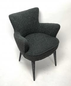 Bourgeois Boheme Atelier Set of 6 Aube Chairs Charcoal Boucle Ebony Cerused Stain - 2017974