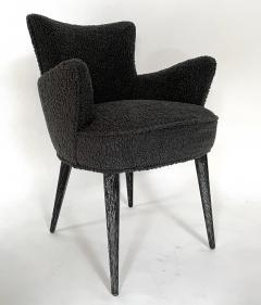 Bourgeois Boheme Atelier Set of 6 Aube Chairs Charcoal Boucle Ebony Cerused Stain - 2017976
