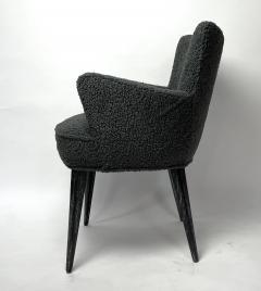 Bourgeois Boheme Atelier Set of 6 Aube Chairs Charcoal Boucle Ebony Cerused Stain - 2017978