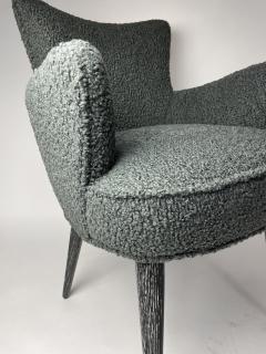 Bourgeois Boheme Atelier Set of 6 Aube Chairs Charcoal Boucle Ebony Cerused Stain - 2017979