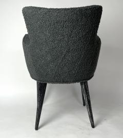 Bourgeois Boheme Atelier Set of 6 Aube Chairs Charcoal Boucle Ebony Cerused Stain - 2017980