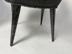 Bourgeois Boheme Atelier Set of 6 Aube Chairs Charcoal Boucle Ebony Cerused Stain - 2017981