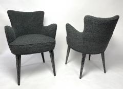 Bourgeois Boheme Atelier Set of 6 Aube Chairs Charcoal Boucle Ebony Cerused Stain - 2017982