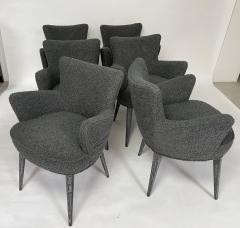 Bourgeois Boheme Atelier Set of 6 Aube Chairs Charcoal Boucle Ebony Cerused Stain - 2017983