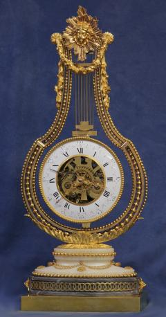 Breant a Paris c 1790 French Ormolu and Marble Swinging Lyre Clock - 1184066